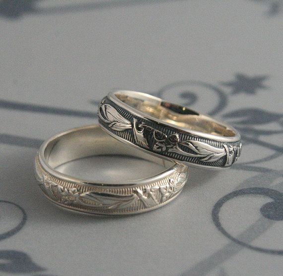 Vintage Style Ring Lily Nouveau Men S Wedding Band Art Deco Solid Silver Women