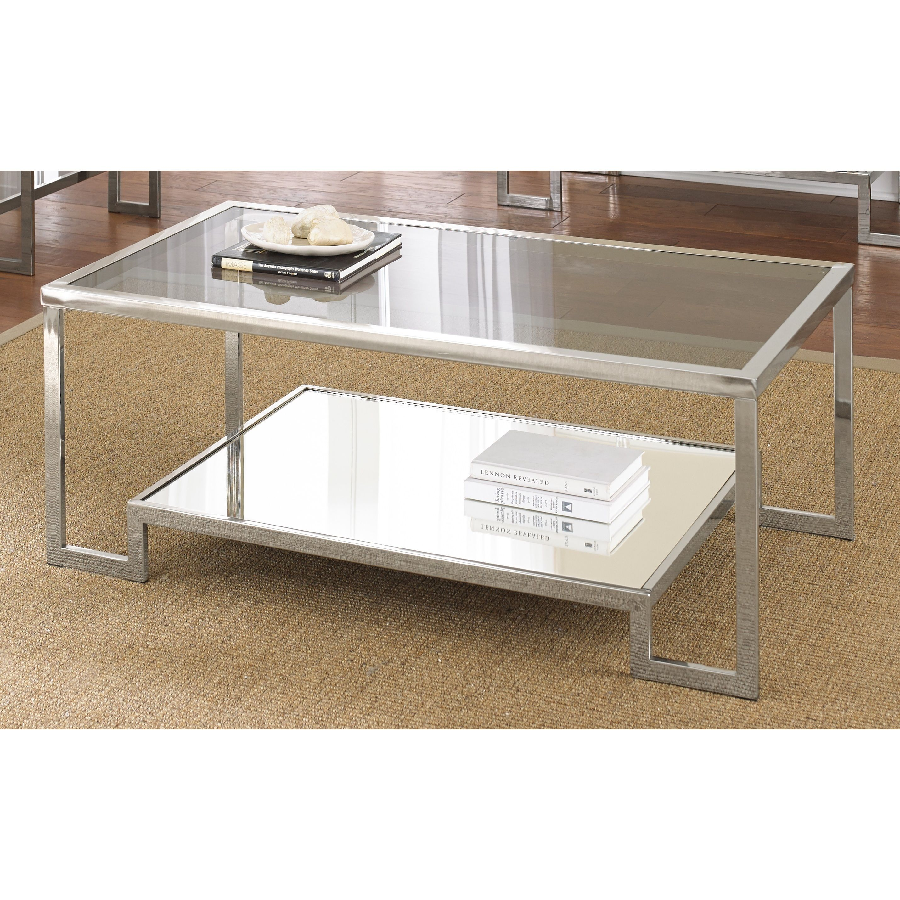 Cordele chrome and glass coffee table by greyson living by greyson contemporary and elegant the cordele chrome and glass coffee table is the perfect accent to geotapseo Images