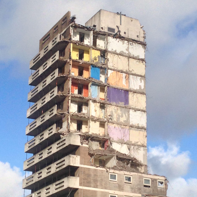 Half-demolished building