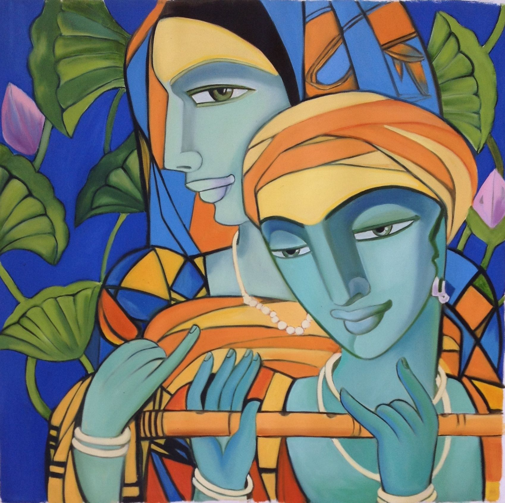 Krishna Radha Indian Art Handmade Modern Hindu Oil on ...