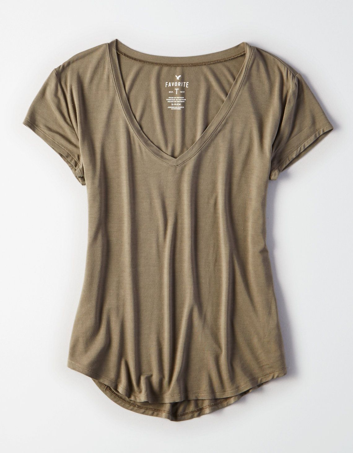 cd2cf22d AE Soft & Sexy V-Neck Favorite T-Shirt, Olive | American Eagle Outfitters