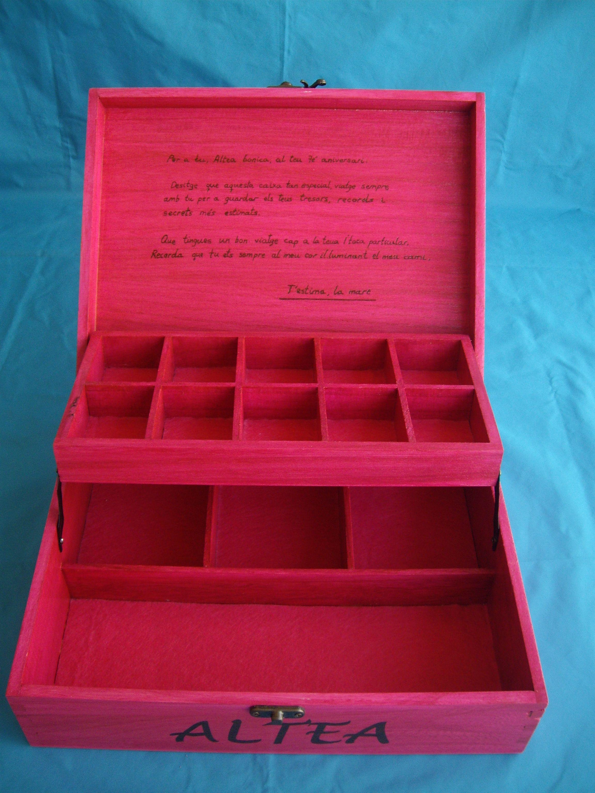Caja joyero de madera pirograbada y pintada a mano - Caja joyero ikea ...