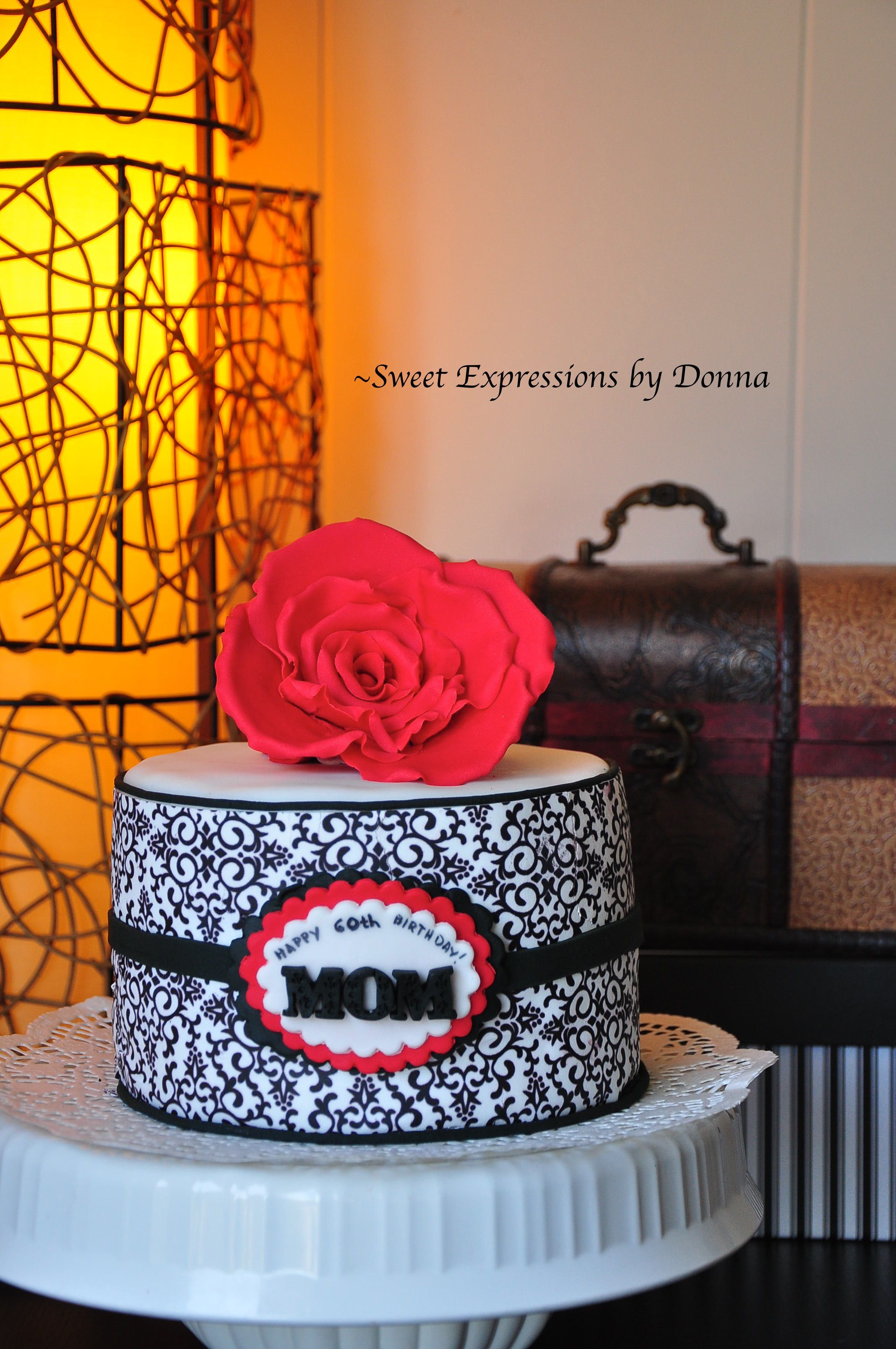 Damask and Red Rose Cake