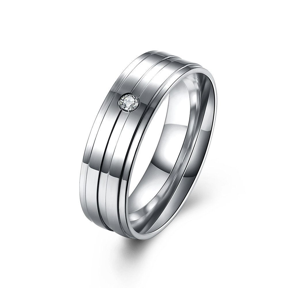 Simple Couple Ring Stainless Steel Zircon Wedding Ring for Couple ...