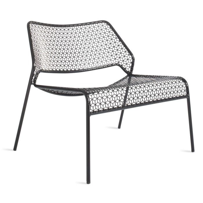 Hot Mesh Black Metal Lounge Chair - Corner