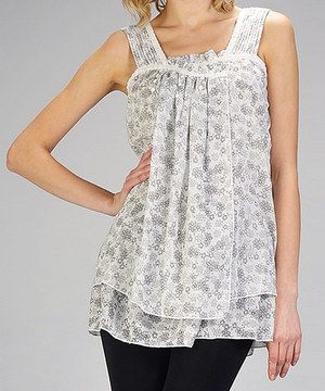 Look at this #zulilyfind! MONORENO by Mür Off-White Floral Tank by MONORENO by Mür #zulilyfinds
