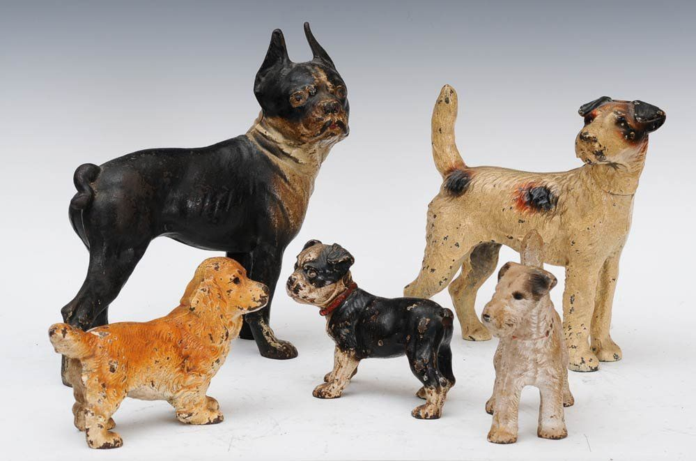 Group Of Five Cast Iron Dog Door Stops Sold For 425 Largest Is