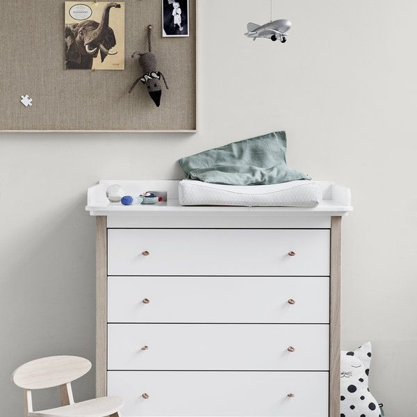 Scandi Styled Oak And White Changing Table By Oliver