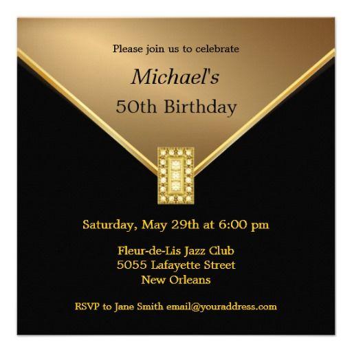 Elegant Gold Black 50th Birthday Party Invitations Zazzle Com In 2020 50th Birthday Party Invitations 50th Birthday Party Birthday Party Invitations