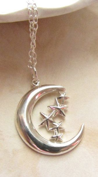 Moon and Stars sterling silver charm necklace, Minimal Collection, Celestial necklace