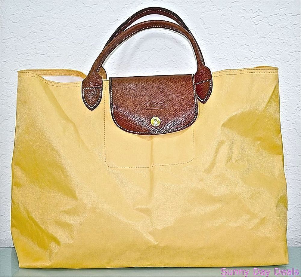 039d293ffe190 Longchamp Tote Handbag Les Pliages Cabas Shopper Nylon Yellow France Bag  Purse  Longchamp  TotesShoppers