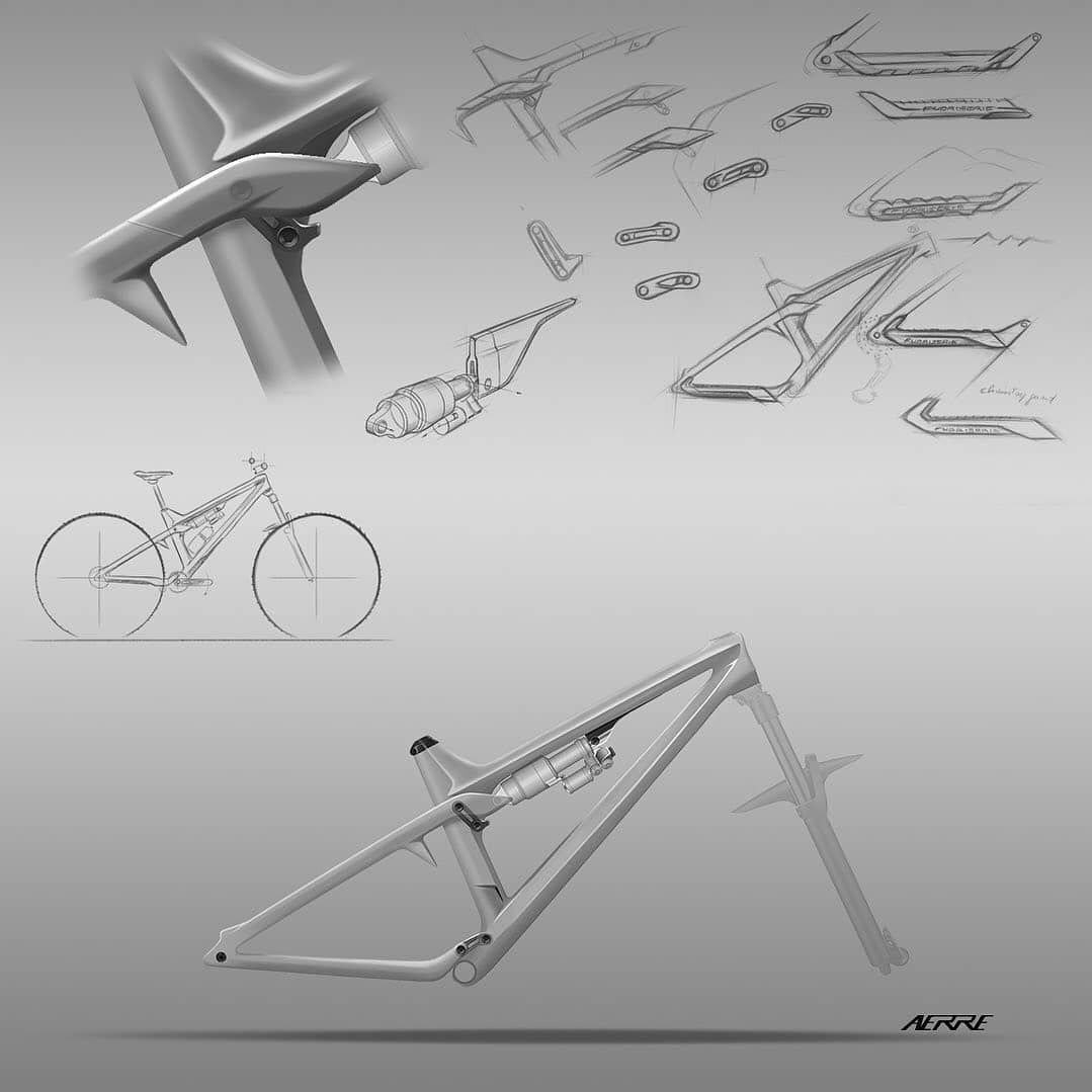 Loving everything about this sketch page. #designsketch #idsketching . . #Repost @aerre01       Canazei  Some details of the #fuoriserie mk1 frame with the upper link cover to achieve a more #streamline visual look in that area and emphasise the main line  some iterations of the lower link the chainstay guard and the metal blade which makes for the shock attachment          @mtbmag #bicycledesign #bikedesignpro #bikedesign #bicyclesketch #designprocess #sketchbook #idsketch #enduromtb #mountainb