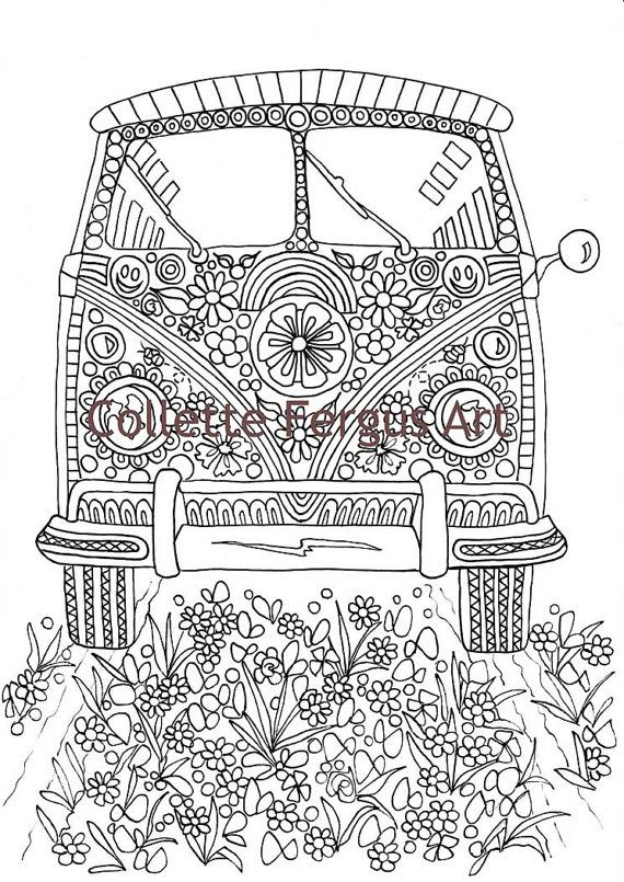 Hippie Van Digital Coloring Page For Printing Coloring Pages