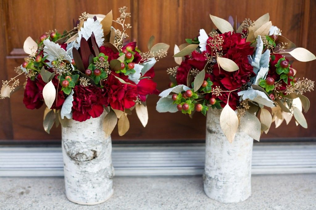 Birch wedding centerpieces burgundy gold