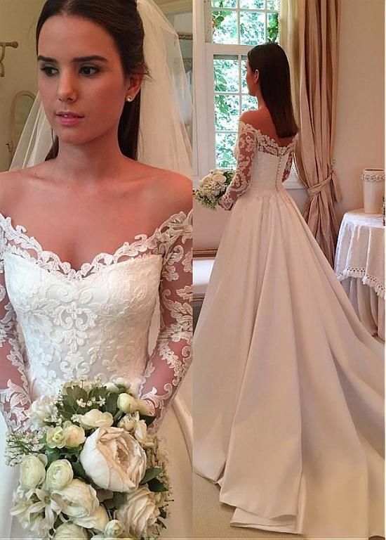 Photo of Wedding Dresses Ball Gown, Wonderful Tulle & Satin Off-the-shoulder Neckline A-line Wedding Dress With Lace Appliques DressilyMe