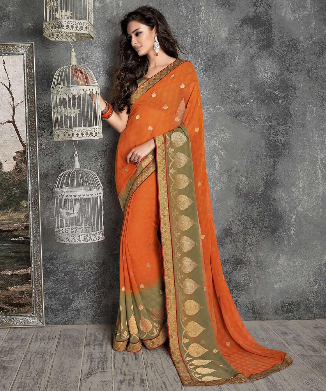 Saree blouse design for chiffon saree chiffon saree with blouse  saree orange copper rust brown