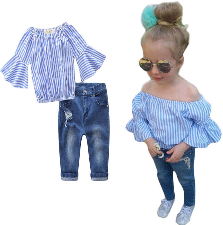 Kids Baby Girls Off-Shoulder Ruffle Flouncing Shirt Tops+Denim Hole Pants Set