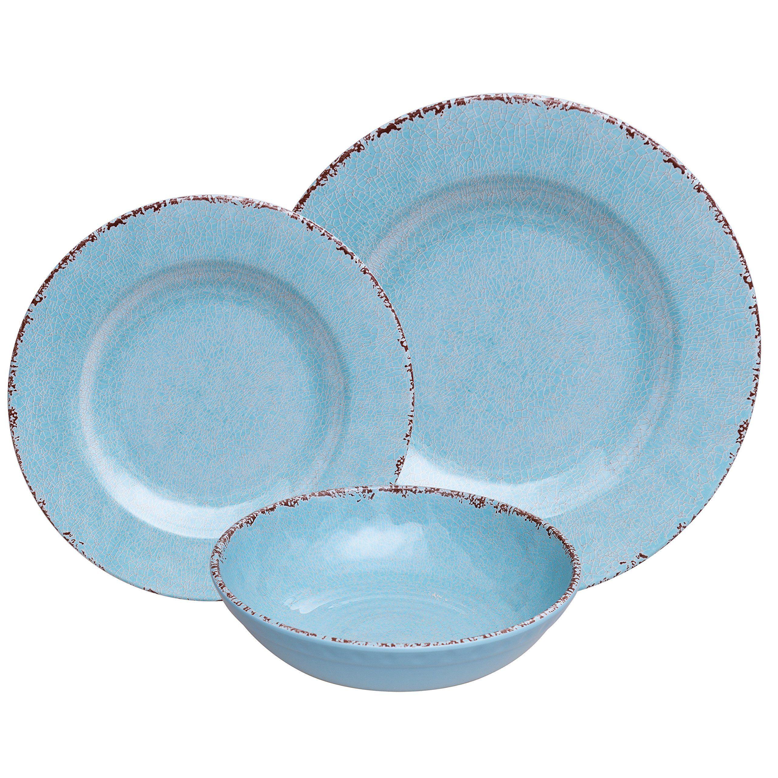 Antique blue 12 piece melamine dinnerware set rustic