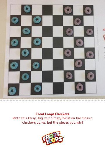 With This Busy Bag Put A Tasty Twist On The Classic Checkers Game Eat The Pieces You Win Busybag Pre Indoor Preschool Activities Froot Loops Fun Kids Food