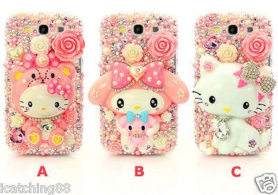 3D Bling Crystal Luxury Rhinestone Hello Kitty DIY Cell Phone Case Deco Den Kit