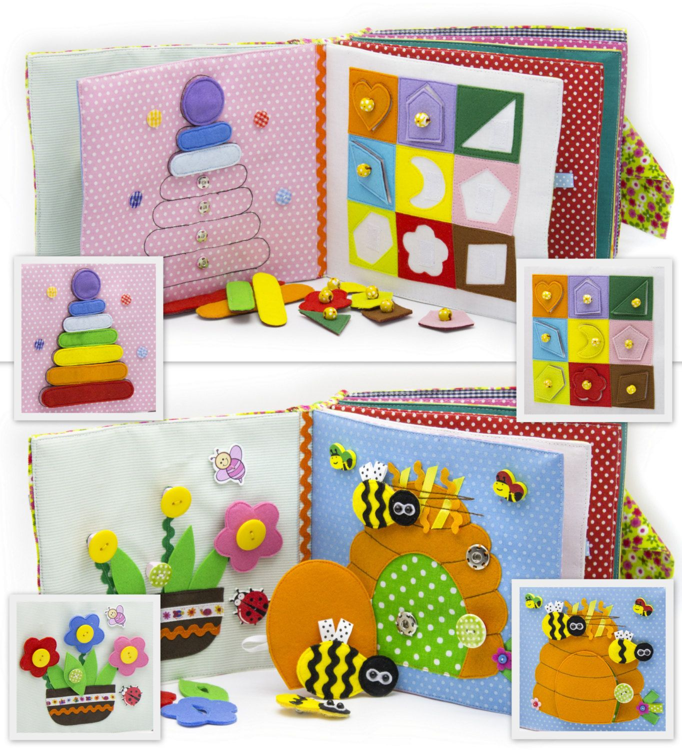 Regalo Bambina 4 Anni quiet soft busy book 12 felt pages (1-4 year) children's