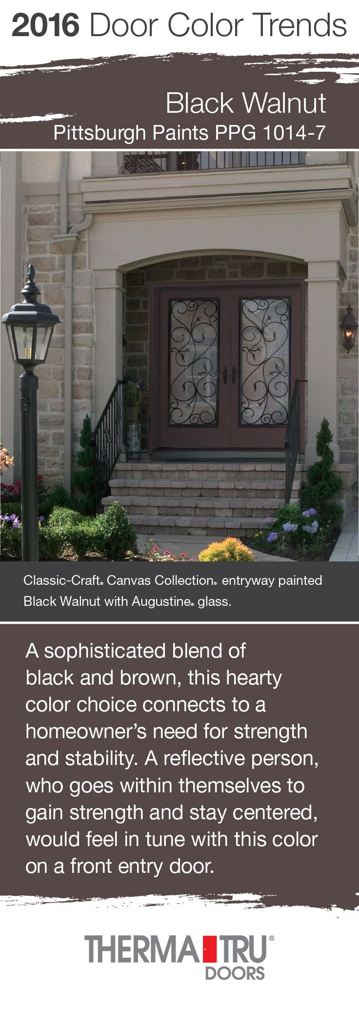 Front door with sidelites m6410 103010 ct 4irh the home depot - Black Walnut By Pittsburgh Paints One Of The Front Door Color Trends For 2016