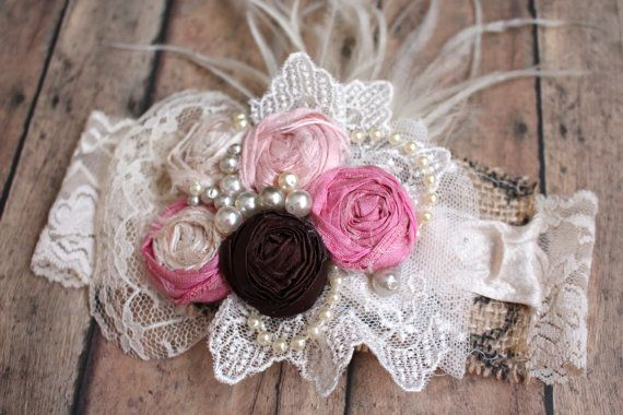 Items similar to Shabby Headband, Rosettes Lace and Burlap Headband, Rustic Hair Accessory, Bohemian Wedding, Flower Girl, Baby Girl Hair Accessory, on Etsy