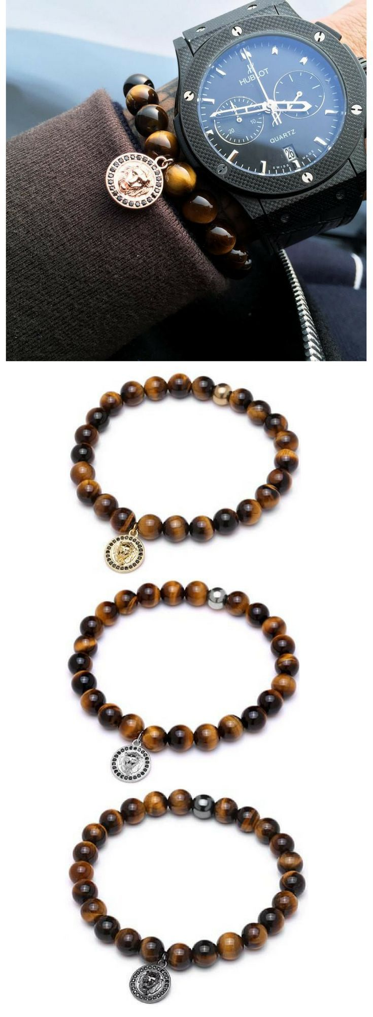 Mens beaded tiger stone bracelet with lion head charm choice of