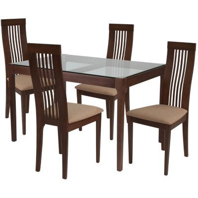 Imperial 5 Piece Walnut Wood Dining Table Set With Glass Top And
