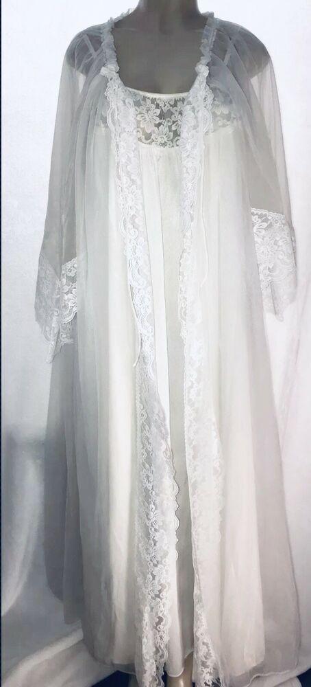 53b004d884 VIntage Bridal Ivory Sheer CHIFFON Peignoir Robe Nightgown Gown NOS MEDIUM