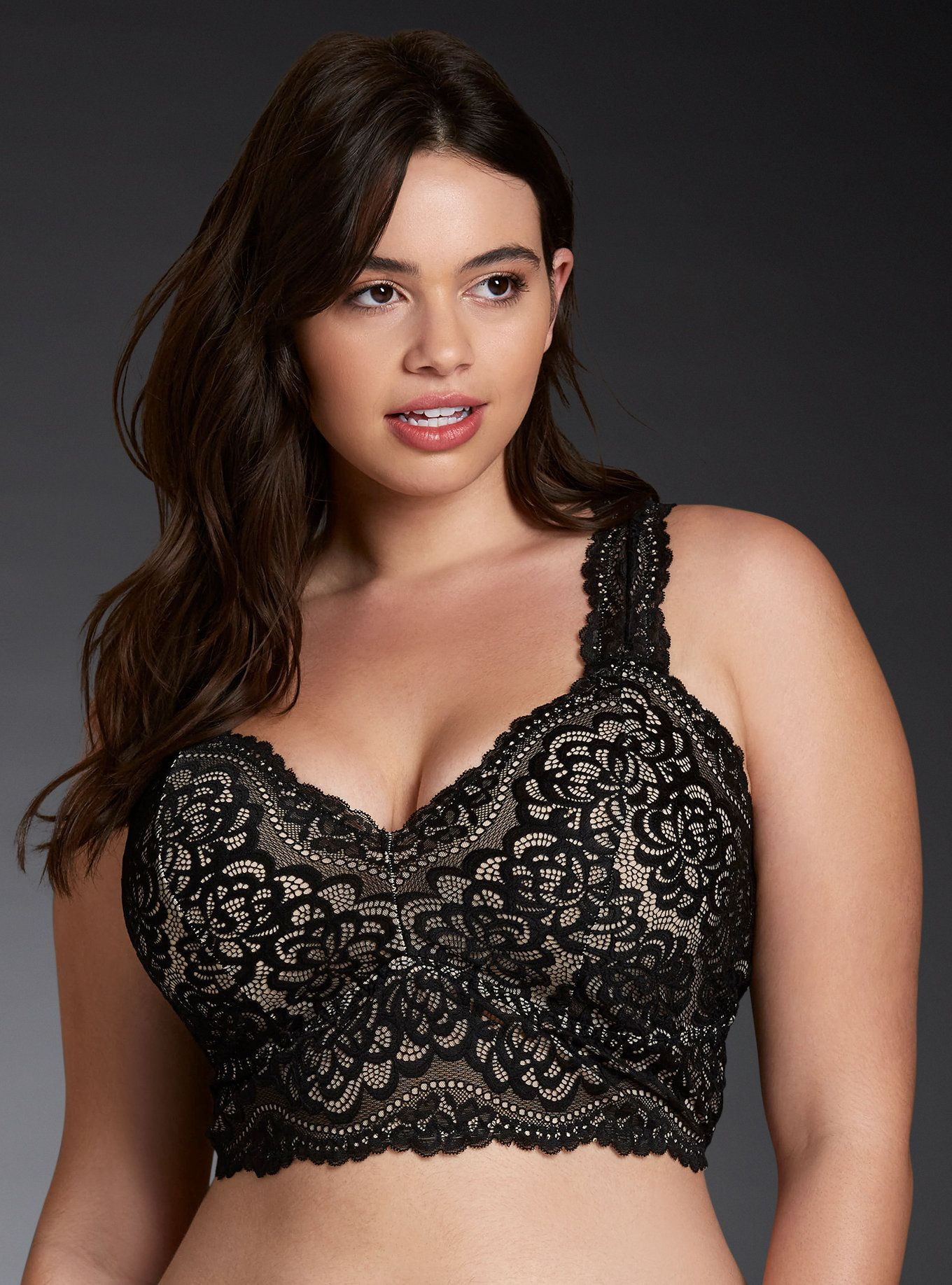 28353262692f12 A bralette so cute you re gonna be tempted to show off (and you should).  The wireless racerback style is totally comfy with a stretchy fit  the  black lace ...