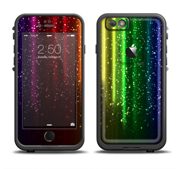 The Neon Glowing Rain Apple iPhone 6 LifeProof Fre Case Skin Set