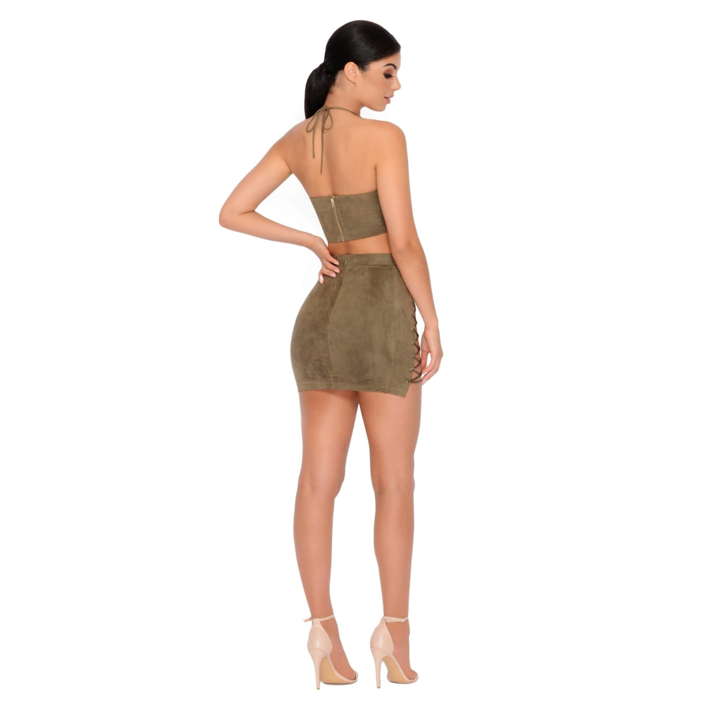ce10bd7ffab6 Straight Laced Suede Tie Up Two Piece in Khaki | Straight Crop Top ...