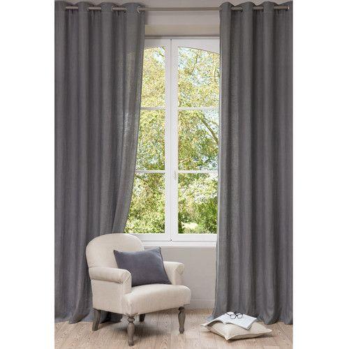 Ösenvorhang aus gewaschenem Leinen, 140 x 300 cm, grau Home - gardinen wohnzimmer grau
