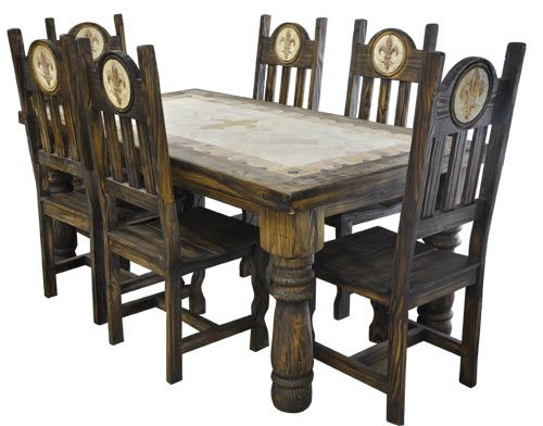 Charming Orleans Antique Fleur De Lis 7pc Dining Table