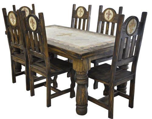 Orleans Antique Fleur De Lis 7pc Dining Table