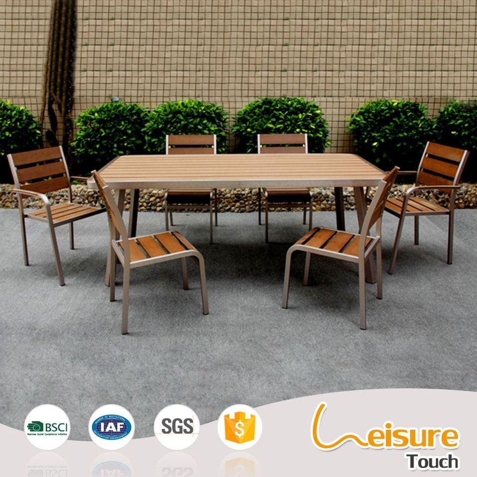 Party kitchen outdoor furniture plastiic wood aluminum dinning restaurant chair table set