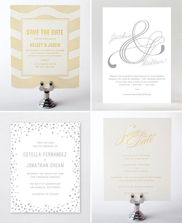 Gold Silver Foil Stamped Wedding Invitations