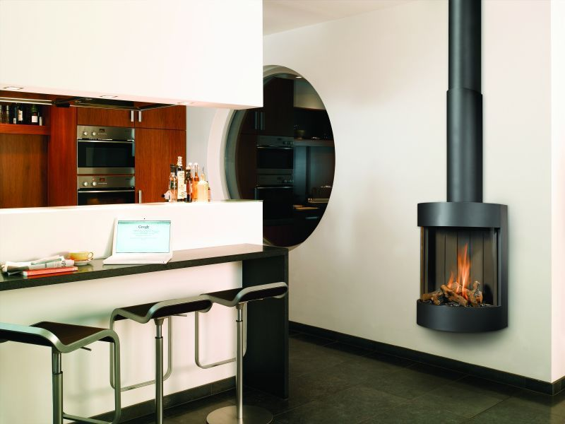 Modern Design Kitchen with Natural Gas Fireplace and Realistic