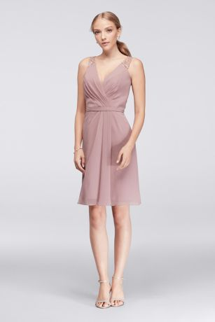 A peek of lace on the straps of this short chiffon bridesmaid dress hints  at the illusion lace back. Polyester Back zipper  fully lined Dry clean  Imported 83d2edb50