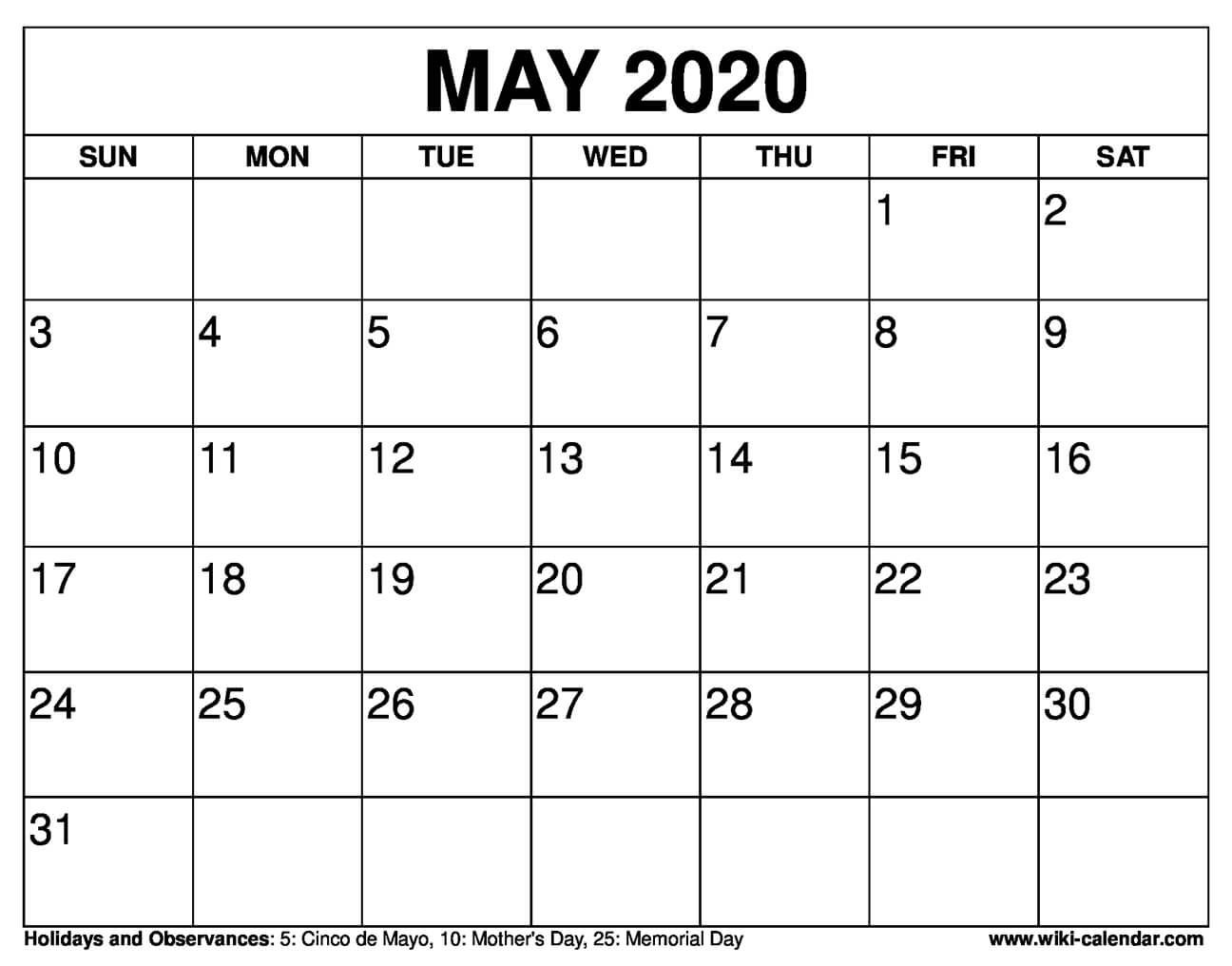Free Printable May 2020 Calendars In 2020 Printable Calendar