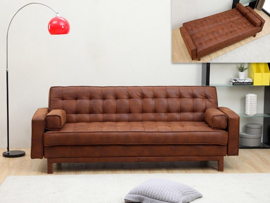 Schlafsofa Klappsofa Microfaser Vintage Eleanor Braun Sofa