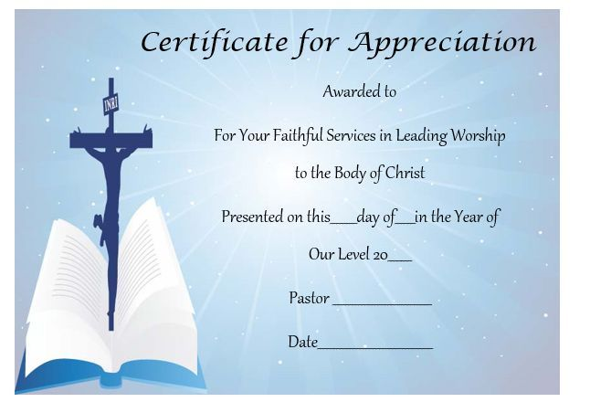 Pastor Appreciation Certificate Template  Pastor Appreciation
