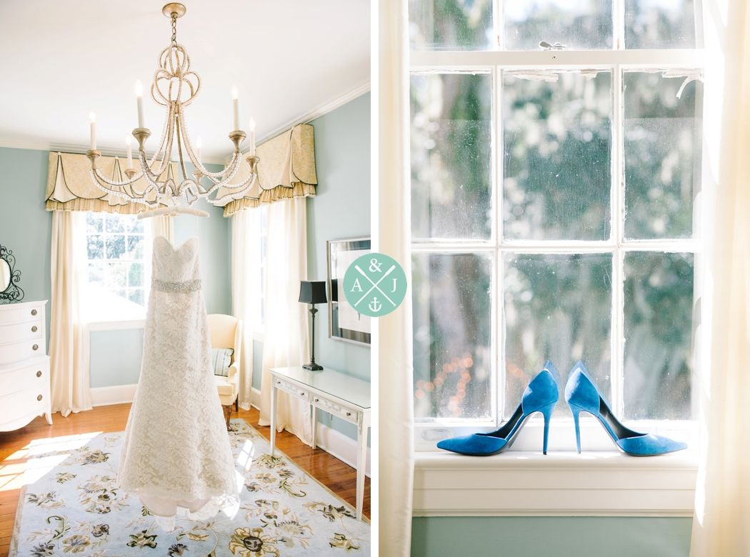 Lace gown and electric blue heels for a gorgeous classic elegant