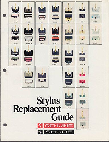 Shure Stylus Replacement Guide catalog folder 1970s stereo turntable component