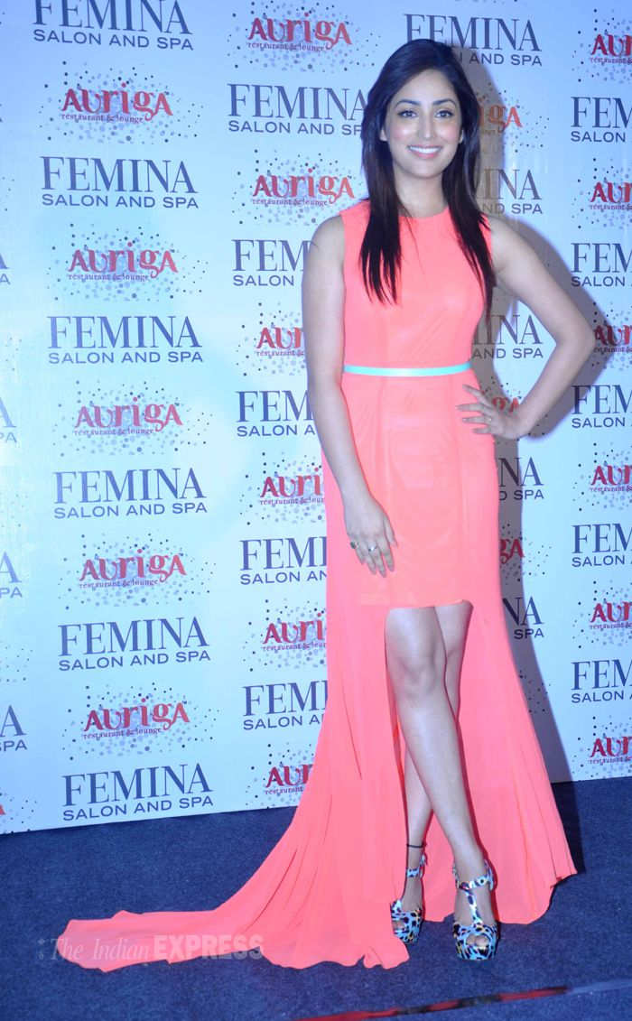 Yami (Yaami) Gautam poses for the cameras on stage.