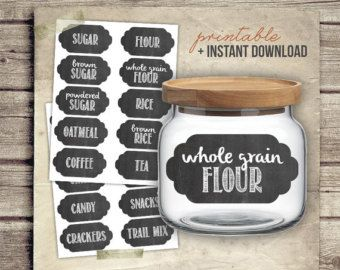 Printable Chalkboard Kitchen Labels - Set 20 Digital Pantry Food Labels for Kitchen - diy Printable Container Labels - INSTANT DOWNLOAD PDF & Printable Chalkboard Kitchen Labels - Set 20 Digital Pantry Food ...