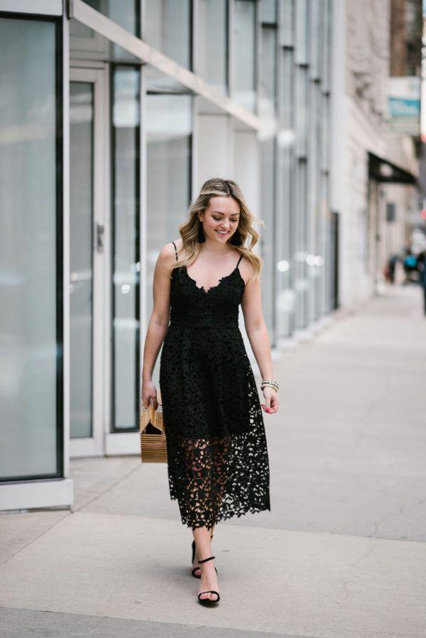 Summer Wedding Guest: Black Lace Midi Dress | Summer wedding attire ...