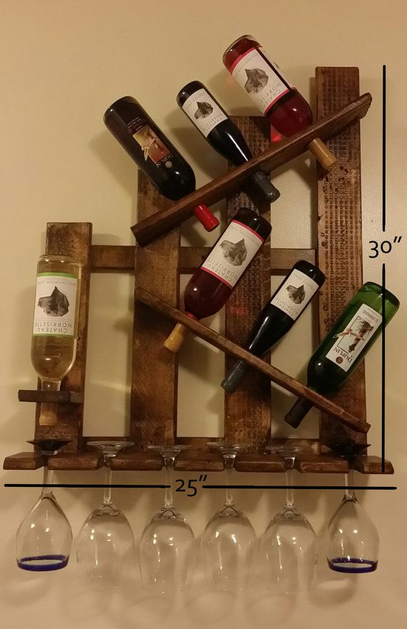 Unique Wine Rack Shelf U0026 Glass Holder Distressed By TheBazingaBox