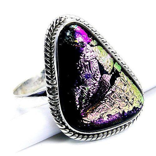Magic Kingdom' Sterling Silver Dichroic Glass Ring, Size 8.25